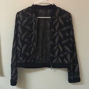 Zara sheer jacket leaf embroideries.